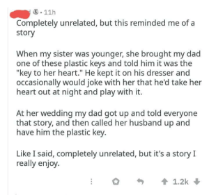 "Dad, Reddit, and Heart: Completely unrelated, but this reminded me of a  story  When my sister was younger, she brought my dad  one of these plastic keys and told him it was the  ""key to her heart."" He kept it on his dresser and  occasionally would joke with her that he'd take her  heart out at night and play with it.  At her wedding my dad got up and told everyone  that story, and then called her husband up and  have him the plastic key  Like I said, completely unrelated, but it's a story I  really enjoy Found here on redditall the feels!"