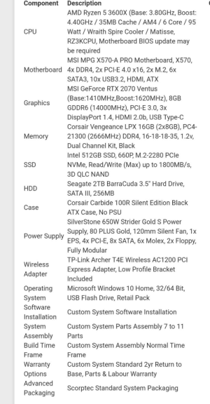 """Microsoft, Windows, and Archer: Component Description  AMD Ryzen 5 3600X (Base: 3.80G Hz, Boost:  4.40GHZ 35MB Cache AM4 /6 Core /95  Watt Wraith Spire Cooler Matisse,  RZ3KCPU, Motherboard BIOS update may  be required  CPU  MSI MPG X570-A PRO Motherboard, X570,  Motherboard 4x DDR4, 2x PCI-E 4.0 x16, 2x M.2, 6x  SATA3, 10x USB3.2, HDMI, ATX  MSI GeForce RTX 2070 Ventus  (Base:1410MHz,Boost:1620MHz), 8GB  GDDR6 (14000MHZ), PCI-E 3.0, 3x  DisplayPort 1.4, HDMI 2.0b, USB Type-C  Corsair Vengeance LPX 16GB (2X8GB), PC4-  21300 (2666MH2) DDR4, 16-18-18-35, 1.2v,  Graphics  Memory  Dual Channel Kit, Black  Intel 512GB SSD, 660P, M.2-2280 PCle  NVMe, Read/Write (Max) up to 1800MB/s,  SSD  3D QLC NAND  Seagate 2TB BarraCuda 3.5"""" Hard Drive,  HDD  SATA III, 256MB  Corsair Carbide 100R Silent Edition Black  Case  ATX Case, No PSU  SilverStone 650w Strider Gold S Power  Supply, 80 PLUS Gold, 120mm Silent Fan, 1x  Power Supply FPS. 4x PCI-E, 8x SATA, 6x Molex, 2x Floppy,  Fully Modular  TP-Link Archer T4E Wireless AC1200 PCI  Wireless  Express Adapter, Low Profile Bracket  Adapter  Included  Microsoft Windows 10 Home, 32/64 Bit,  Operating  USB Flash Drive, Retail Pack  System  Software  Custom System Software Installation  Installation  System  Assembly  Custom System Parts Assembly 7 to 11  Parts  Build Time  Custom System Assembly Normal Time  Frame  Frame  Custom System Standard 2yr Return to  Base, Parts & Labour Warranty  Warranty  Options  Advanced  Scorptec Standard System Packaging  Packaging I'm getting my first gaming rig, and thanks to some suggestions from you guys I made some changes to the final build, let me know what you guys think."""