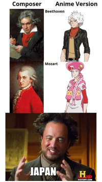 Anime: Classicaloid  Let's say that Beethoven is recreated more or less accurately but boy, what happened to Mozart.  Classicaloid is an anime which reincarnates famous composers into the modern world setting and... doesn't really do anything with them. Well, at least so far, the first episode of the show was slow. The concept does sound similar to Bungou Stray Dogs but is executed completely differently - with more focus on comedy (the ridiculous sort of comedy too).  Perhaps this shouldn't be much of a surprise because the director in charge of this project is also the one responsible for Gintama. Add to that the fact that Beethoven is voiced by Gintoki's seiyuu (Sugita Tomokazu) and everything makes sense.  What I personally enjoy most about this show so far is the modern arrangements of classical pieces, with electric guitars and percussion and such. It's a fresh take on classical pieces and I'm very much into that.  Did any of you watch Classicaloid yet? What were your thoughts? Are you planning to watch it?  Admin Urushihara --- Last Week Advantage Voting Link: http://anitrendz.polldaddy.com/s/summer2016-anime-2 Summer 2016 Side-Category Polls: https://goo.gl/Idbjcp: Composer  Anime Version  Beethoven  Mozart  JAPAN  HISTORY COM Anime: Classicaloid  Let's say that Beethoven is recreated more or less accurately but boy, what happened to Mozart.  Classicaloid is an anime which reincarnates famous composers into the modern world setting and... doesn't really do anything with them. Well, at least so far, the first episode of the show was slow. The concept does sound similar to Bungou Stray Dogs but is executed completely differently - with more focus on comedy (the ridiculous sort of comedy too).  Perhaps this shouldn't be much of a surprise because the director in charge of this project is also the one responsible for Gintama. Add to that the fact that Beethoven is voiced by Gintoki's seiyuu (Sugita Tomokazu) and everything makes sense.  What I personally enjoy m