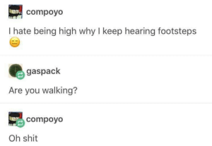 Dank, Memes, and Shit: compoyo  I hate being high why I keep hearing footsteps  gaspack  Are you walking?  compoyo  Oh shit meirl by MilkSummon MORE MEMES