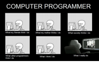 Computer programmer: COMPUTER PROGRAMMER  What my friends think I do  What my mother thinks I do  What society thinks do  What I really do  What other programmers  What I think I do  think Computer programmer