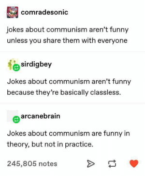 Funny, Grey, and Jokes: comradesonic  jokes about communism aren't funny  unless you share them with everyone  sirdigbey  Jokes about communism aren't funny  because they're basically classless.  arcanebrain  Jokes about communism are funny in  theory, but not in practice.  245,805 notes karl marx hates earl grey because all proper tea is theft