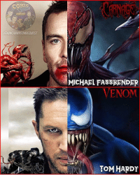 Batman, Click, and Memes: COMtc  PODCAST  UNCANNYCOMICOUEST  MICHAEL FASSBENDER  VENOM  TOM HARDY Wanna fight these guys @tomholland2013 ? 😂 COME ON SONY! Make it happen. Michael Fassbender as Cletus Kasady. He would play a BRILLIANT and FU***D UP serial killer with a Symbiote. Yes, he's Magneto in Fox's X-Men franchise but it doesn't mean it came happen. Example: Josh Brolin plays Thanos in the MCU but will also play Cable in Deadpool 2. What do you guys think of this fancast? . . 🚨don't forget to CLICK THE LINK IN MY BIO to subscribe to our YouTube channel for a chance to win a bunch of Justice League gear!👍🏼🚨 . . . carnage spiderman spidermanhomecoming venom spidey peterparker tomholland tomhardy micahelfassbender mcu marvel captainamerica doctorstrange ironman hulk thor thorragnarok batman superman wonderwoman aquaman justiceleague darkseid greenarrow greenlantern arrow theflash flash dccomics dcrebirth