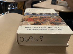 First day of school and I got the best book in my AP English class: Comversations  Conversations  ir AnY erican LiteratIre  LANGUAGE ETORIC CULT  Renée H, Shea  Robin Dissin Aufses.  Lawrence Scanlon Kate Aufses  O69 09 First day of school and I got the best book in my AP English class