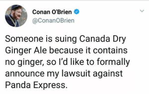 Conan O'Brien, Panda, and Canada: Conan O'Brien  @ConanOBrien  Someone is suing Canada Dry  Ginger Ale because it contains  no ginger, so l'd like to formally  announce my lawsuit against  Panda Express. Next, I will sue Old Spice