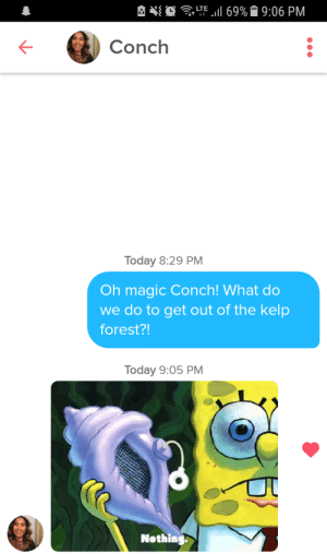 Magic, Today, and Shell: Conch  Today 8:29 PM  Oh magic Conch! What do  we do to get out of the kelp  forest?!  Today 9:05 PM  Nothing THE SHELL HAS SPOKEN!