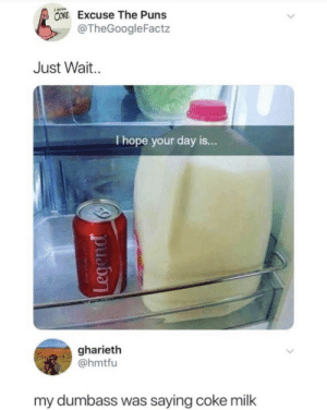 Puns, Hope, and Coke: CONE Excuse The Puns  @TheGoogleFactz  Just Wait.  I hope your day is...  gharieth  @hmtfu  my dumbass was saying coke milk