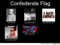 Confederate flag: Confederate Flag  HATE  AMERICA  How Liberals see it  How I see it  How neocons see it  WE BROKE UP  How it really looks  BUT SHE SAID WE COULD  STILL BE COUSINS  How society sees it  MEMES & FUNNY PICS  FRABZ COM