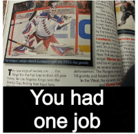 """""""LIKE"""" if you see it.  -Justin: Conferen  The  N  Bruins and  the Eastern  most p  The Ra  wawets rejoiced  by the Lundqvist.  aroslav H  He  goalie es finished  with in NHLe nts bette  of 30 or more  Fans wat  his first seven  New York also  the Perm  winger Marian Gay Movember  Rangers veteran Henrik Lundqvist was the NFL's top goalie  and his 41 goals turning to  sence  as several talented  he new kings of hockey are the  defensemen. The Rangers impa o  Kings For the first time in their 16 points and finished first  in heEs  history, the Los Angeles Kings won the  In the West, the dynamic  Stanley Cup, thriling their loya fans  and Daniel Sedin  You had  one job """"LIKE"""" if you see it.  -Justin"""
