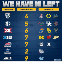 16 teams left , 7 conferences, we break it down.: CONFERENCE  BLOG  COAS  ON FEGENCE  ACC  TOURNAMENT BIDS  IN SWEET 16  A O  CBS SPORTS 16 teams left , 7 conferences, we break it down.