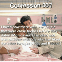 Thank you for the confession 💜 Keep them coming in 🙊: confession 30T  l loved how there  was ore couple  that were close friends before they  dated Monica and Chandler and  then another with one who had liked  the other for ages oss and Rachel. Thank you for the confession 💜 Keep them coming in 🙊
