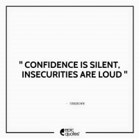 """Android, Confidence, and Life: CONFIDENCE IS SILENT,  INSECURITIES ARE LOUD""""  UNKNOWN  epIC  quotes #1335  #Life Suggested by Jessica   Download our Android App : http://bit.ly/1NXVrLL Download our iOS App https://appsto.re/in/luPOcb.i"""