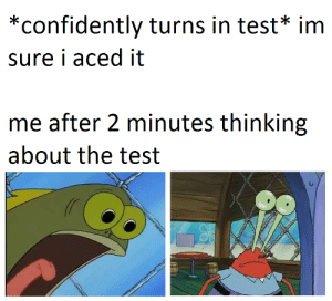 Test, Thinking, and Sure: *confidently turns in test* im  sure i aced it  me after 2 minutes thinking  about the test