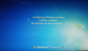 This PC at my campus is updating for future…: Configuring Windows Updates  11665% complete.  Do not turn off your computer.  Windows 7 Professional This PC at my campus is updating for future…