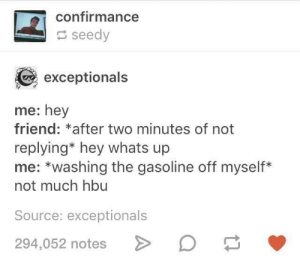 Me irl: confirmance  seedy  exceptionals  me: hey  friend: *after two minutes of not  replying* hey whats up  me: *washing the gasoline off myself*  not much hbu  Source: exceptionals  294,052 notes Me irl