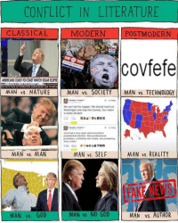 """<p>Conflict in Literature Memes - The Next Viral Template? via /r/MemeEconomy <a href=""""http://ift.tt/2xmoA3O"""">http://ift.tt/2xmoA3O</a></p>: CONFLICT IN LITERATURE  CLASSICAL  MODERN POSTMODERN  jcovfefe  AMERICANS COAST-TO-COAST WATCH SOLAR ECUIPSE  MAN vs. NATURE MAN vs. SOCIETY MAN vs. TECHNOLOGY  We can't let this happen. We should march on  Washington and stop this travesty.Our nation  s totaly divided  Just had a very open and suoocesshul  presidential elacion, Now peolessional  p onesters, inoned by the meda re proest  Very untair  MAN vs. MAN  MAN vs. SELF  MAN vs. REALITY  FAKE NEWS  MAN vs. GOD  MAN vs. NO GOD  MAN vs. AUTHOR <p>Conflict in Literature Memes - The Next Viral Template? via /r/MemeEconomy <a href=""""http://ift.tt/2xmoA3O"""">http://ift.tt/2xmoA3O</a></p>"""