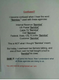"""Confused, Memes, and Focus: Confused?  I become confused when I hear the word  """"Service """" used with these agencies:  Intemal Revenue 'Service  US Postal 'Service'  Cable TV Service'  Civil 'Service'  Federal, State, City, & public 'Service  Customer 'Service'  This is NOT what I thought 'Service' meant.  But today, I overheard two farmers talking, and  one of them said he had bought a bull to  Service'his cows.  BAM !!! It all came into focus. Now I understand what  all those agencies are doing to us.  You are now as enlightened as I am."""