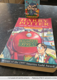 """Funny, Harry Potter, and Memes: CONGOCOCTION  HARRY  POTTER  Stones  HOGWARTS  EXPRESS  Winner of the 1997 Smarties Gold Award  MUGGLENET MEMES.COM  1 in 3 people will read this and go to <p>Because sometimes you need to curl up with your childhood :) <a href=""""http://memes.mugglenet.com/Harry+Potter+Funny+Pics/Because-sometimes-you-need-to-curl-up-wi/1953"""">http://memes.mugglenet.com/Harry+Potter+Funny+Pics/Because-sometimes-you-need-to-curl-up-wi/1953</a></p>"""