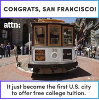 It seems berniesanders was more influential than I thought... Go sanfrancisco ! @attndotcom college tuition talkbernietome feelthebern bernie2020 politics california: CONGRATS, SAN FRANCISCO!  attn:  LA  I OAK  BEAN  It just became the first U.S. city  to offer free college tuition. It seems berniesanders was more influential than I thought... Go sanfrancisco ! @attndotcom college tuition talkbernietome feelthebern bernie2020 politics california