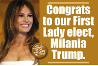 Join the fun: fb.com/stophillaryin2016: Congrats  to our First  Lady elect,  Milania  JOIN US  HILLARY  Trump Join the fun: fb.com/stophillaryin2016
