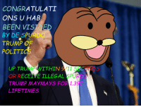 <p>Watch out kiddos</p>: CONGRATULATI  ONS U HAB  BEEN VIST E  BY DE SPURDO  TRUMP OF  POLITICS  UP TRUMP WITHIN 9/11 SECONDS  OR RECEIVE ILLEGAL SPURDO  TRUMP MAYMAYS FOR 1.397  LIFETIMES <p>Watch out kiddos</p>
