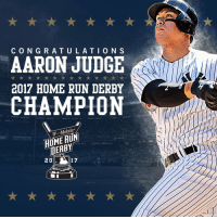 Congratulations goes out to Aaron Judge who won the 2017 Home Run Derby! ⚾️💪💯 @TheJudge44 https://t.co/IVNYFHYKC5: CONGRATULATION S  AARON JUDGE  2017 HOME RUN DERBY  CHAMPION  T.  T .-Mobile  HOME RUN  DEABY  2 0  17 Congratulations goes out to Aaron Judge who won the 2017 Home Run Derby! ⚾️💪💯 @TheJudge44 https://t.co/IVNYFHYKC5