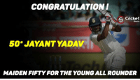 Maiden fifty for jayant yadav ! India crosses 400 mark as well.  Ind 406/8: CONGRATULATION!  S Cricket  Shots  50 JAYANT YADAV  MAIDEN FIFTY FOR THE YOUNGALL ROUNDER Maiden fifty for jayant yadav ! India crosses 400 mark as well.  Ind 406/8