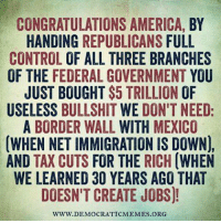 Image from Democratic Memes: CONGRATULATIONS AMERICA, BY  HANDING  REPUBLICANS FULL  CONTROL  OF ALL THREE BRANCHES  OF THE FEDERAL GOVERNMENT YOU  JUST BOUGHT $5 TRILLION OF  USELESS  BULLSHIT  WE DON'T NEED  A BORDER WALL  WITH MEXICO  (WHEN NETIMMIGRATION IS DOWN),  AND TAX CUTS  FOR THE RICH  (WHEN  WE LEARNED 30 YEARS AGO THAT  DOESN'T CREATE JOBS)!  WWW DEMOCRATICMEMES ORG Image from Democratic Memes