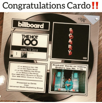 Anaconda, Billboard, and Friends: Congratulations Cardo!!  billboard  THEHOT  THE WEEK OF  APRIL 14, 2018  God's Plarn  Producer Cardo on making  Drake's new No. 1 hit  #1 on Billboard Hot 100  #1 on Hot Digital Songs  #1 on Hot R&B/Hip Hop S ngs  #1 on Billboard Rap Songs  Over 55O Million Streams on Spotify  Over 350 Million Views on YouTube  Presented to Cardo  from  Universal Music Publishing Group cardogotwings gets his plaque ‼️ Follow @bars for more ➡️ DM 5 FRIENDS