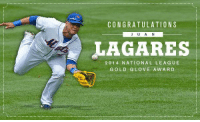 Juan Lagares wins the Gold Glove at CF! Simmons wins for Atlanta at SS, Heyward at RF, Yelich wins in LF for Miami: CONGRATULATIONS  J A N  LAGARES  2014 NATIONAL LEAGUE  GOLD GLOVE AWARD Juan Lagares wins the Gold Glove at CF! Simmons wins for Atlanta at SS, Heyward at RF, Yelich wins in LF for Miami