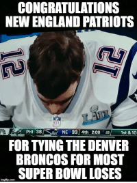 CONGRATULATIONS  NEW ENGLAND PATRIOTS  PHI 38/< s NE 3314th 2:09 25/ 1st & 10  FOR TYING THE DENVER  BRONCOS FOR MOST  SUPER BOWL LOSES Patriots Tied a Super Bowl Rercord
