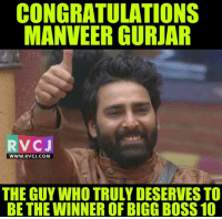 Winner Of Bigg Boss ❤😍 rvcjinsta biggboss: CONGRATULATIONS  NVEERGURJAR  RV CJ  WWW. RVCJ.COM  THE GUY WHO TRULY DESERVES TO  BE THE WINNEROF BIGG BOSS 10 Winner Of Bigg Boss ❤😍 rvcjinsta biggboss