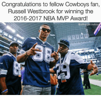 Double Tap to congratulate the 2016-2017 NBA MVP, @russwest44! 🏆 DallasCowboys CowboysNation ✭: Congratulations to fellow Cowboys fan,  Russell Westbrook for winning the  2016-2017 NBA MVP Award!  @allthingscowboy Double Tap to congratulate the 2016-2017 NBA MVP, @russwest44! 🏆 DallasCowboys CowboysNation ✭