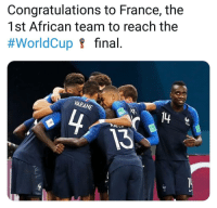 Worldcup: Congratulations to France, the  1st African team to reach the  #WorldCup요 final  ARANE  13