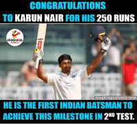 Zabardast. ....: CONGRATULATIONS  TO  KARUN NAIR FOR HIS  250 RUNS  l a u g hingcolours .com  HE IS THE FIRSTINDIAN BATSMAN TO  ACHIEVE THIS MILESTONE IN  2ND TEST. Zabardast. ....