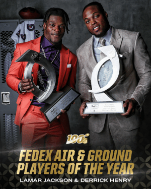 Congratulations to @Ravens QB Lamar Jackson and @Titans RB Derrick Henry, the 2019 @FedEx Air and Ground Players of the Year!  📺: #NFLHonors | 8pm ET on FOX https://t.co/y77beAz0Lr: Congratulations to @Ravens QB Lamar Jackson and @Titans RB Derrick Henry, the 2019 @FedEx Air and Ground Players of the Year!  📺: #NFLHonors | 8pm ET on FOX https://t.co/y77beAz0Lr