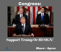 Trump, Congress, and Share: Congress:  Support Trump or RESIGN!  Share Agree  POLITICAL INSIDER