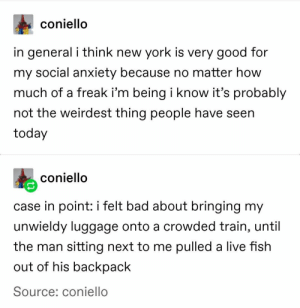 26+ Amazing Tumblr Posts That Are Must Watch For Everyone #funny #memes #lol #humor #humour #rofl #trending #sarcasm #tumblr: coniello  in general i think new york is very good for  my social anxiety because no matter how  much of a freak i'm being i know it's probably  not the weirdest thing people have seen  today  coniello  case in point: i felt bad about bringing my  unwieldy luggage onto a crowded train, until  the man sitting next to me pulled a live fish  out of his backpack  Source: coniello 26+ Amazing Tumblr Posts That Are Must Watch For Everyone #funny #memes #lol #humor #humour #rofl #trending #sarcasm #tumblr
