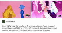 Memes, 🤖, and Pearl: conniventia  l just KNEW that the pearl and Greg color schemes foreshadowed  something about BLUE and YELLOW diamond, both are situations of  missing a loved one that either being rose or PINK diamond I love the forshadowing in this show <3  ~Diamond~