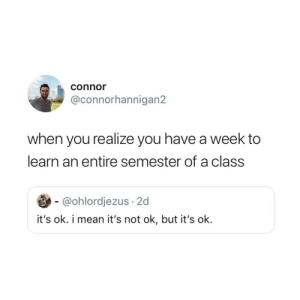 Its Ok: connor  @connorhannigan2  when you realize you have a week to  learn an entire semester of a class  @ohlordjezus 2d  it's ok. i mean it's not ok, but it's ok.