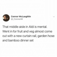 Aldi, British, and Bamboo: Connor McLaughlin  @ ConnorM  That middle aisle in Aldi is mental.  Went in for fruit and veg almost come  out with a new curtain rail, garden hose  and bamboo dinner set Bang on😂