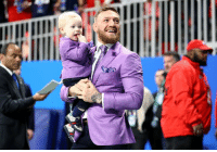Conor McGregor and his son in matching lavender suits at Super Bowl LIII: Conor McGregor and his son in matching lavender suits at Super Bowl LIII