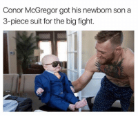 Gotted: Conor McGregor got his newborn son a  3-piece suit for the big fight.