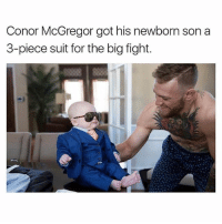 Coolest baby in the game...: Conor McGregor got his newborn son a  3-piece suit for the big fight. Coolest baby in the game...