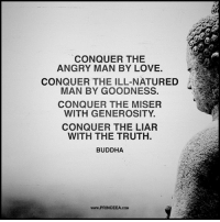 Love, Memes, and Buddha: CONQUER THE  ANGRY MAN BY LOVE.  CONQUER THE ILL-NATURED  MAN BY GOODNESS.  CONQUER THE MISEFR  WITH GENEROSITY.  CONQUER THE LIAR  WITH THE TRUTH  BUDDHA  www.PRINCEEA.COM