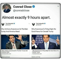 America, Donald Trump, and Memes: Conrad Close  @conradclose  Almost exactly 9 hours apart.  The Federalist.  @FDRLST  The Federalist .  @FDRLST  Why Anthony Scaramucci ls The Man  Trump And America Need  Why Scaramucci's Firing Might Be  Good News For Donald Trump  IT  Why Anthony Scaramucci Is The Man Trump And  America Need  thefederalist.com  Why Scaramucci's Firing Might Be Good News For  Donald Trump  thefederalist.com  7/31/17, 8:20 AM  7/31/17, 5:27 PM You know what, Trump is a cockalorum and we live in a kakistocracy as a result. Just saying randomwednesday tumblr tumblrtextpost americaisakakistocracy kakistocracy cockalorum fucktrump fuckdonaldtrump donaldtrump donalddrumpf anthonyscaramucci