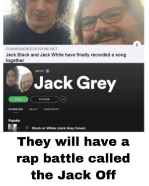 Who will win? Hahaha: CONSEQUENCEOFSOUND NET  Jack Black and Jack White have finally recorded a song  together  ARTIST  Jack Grey  FOLLOW  PLAY  CONCERTS  ονευνιεw  ABOUT  Popular  Black or White (Jack Grey Cover)  They will have a  rap battle called  the Jack Off Who will win? Hahaha
