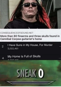 Guns, Memes, and My House: CONSEQUENCEOFSOUND.NET  More than 80 firearms and three skulls found in  Cannibal Corpse guitarist's home  I Have Guns in My House, For Murder  3,022,461  2  My Home Is Full of Skulls  4  SNEAK O Stealth assassin via /r/memes http://bit.ly/2T1C6Vd