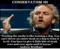 "training: CONSERVATISM 101  ""Feeding the media is like training a dog, You  can't throw an entire steak at a dog to train it  to sit. You have to give it little bits of steak  over and over again until it learns.""  Andrew Breitbart"
