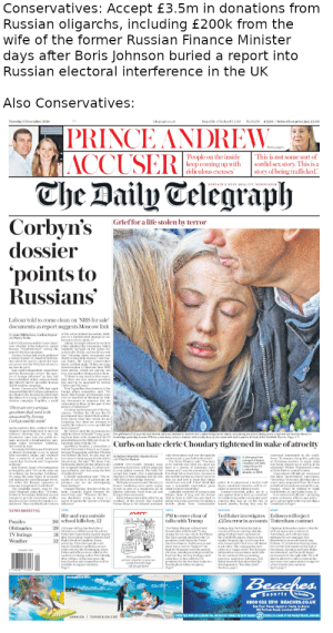 """Anna, Christmas, and Community: Conservatives: Accept £3.5m in donations from  Russian oligarchs, including £200k from the  wife of the former Russian Finance Minister  days after Boris Johnson buried a report into  Russian electoral interference in the UK  Also Conservatives:  Republic of Ireland C2.20  2.00 Subscriber price just 1.60  Tuesday 3 December 2019  telegraph.co.uk  No 51,178  PRINCE ANDREW  MACCUSER  The Daily Telegraph  News, page I  'People on the inside  keep coming up with  ridiculous excuses  This is not some sort of  sordid sex story. This is a  story of being trafficked.  BRITAIN'S BEST QUALITY NEWSPAPER  Grieffor a life stolen by terror  Corbyn's  dossier  'points to  Russians  Labour told to come clean on 'NHS for sale  documents as report suggests Moscow link  of the actors behind Secondary Infel  tion or a sophisticated attempt by un  y Anna Mikhailoya Gordon Bavner  and Harry Yorke  known actors to mimic it.  Labour last night refused to sy how  over whether it has helped to spread it had obtained the documents, which  Russian """"disinformation during the originally surfaced on the online dis  cussion site Beddt, and would say only  Jeremy Corbyn last week published that """"releasing these documents was  a leaked dossier of classified informa clearly in the public interest. lain Dun-  tion which he used to attack the Con can Smith, the former Conservative  servatives over the NIIS, but refused to eader, said last night: """"If they are using  dsinfomation to fabricate their NHS  Last night independent researchers scare stories, which are anyway not  said the documents carried """"the spec true, that speaks volumes about them.  tre of foreign iniluence as they had If there is any truth in this report  been published online using methods then there are very serious questions  that directly mirroe an earlier Russian that need to be answered by Jeremy  LABOUR has been told to """"come clean  general election campaign  sy how he got it  disinformation campaig"""
